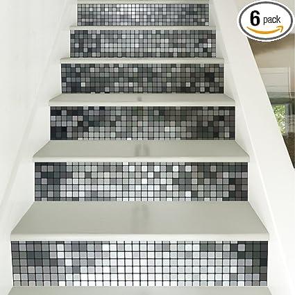 Yazi Silver Mosaic Tile Backsplash Tile Stair Stickers DIY Tile Decals  Waterproof Peel And Stick Home