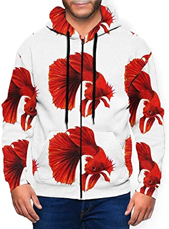 Heyshoe 3D Black and Red Mens Pullover Hooded Sweatshirt With Pockets Casual Hoodies