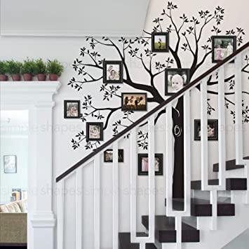 Staircase Family Tree Wall Decal Tree Wall Decal   (Black, Small Size : 92w Part 65
