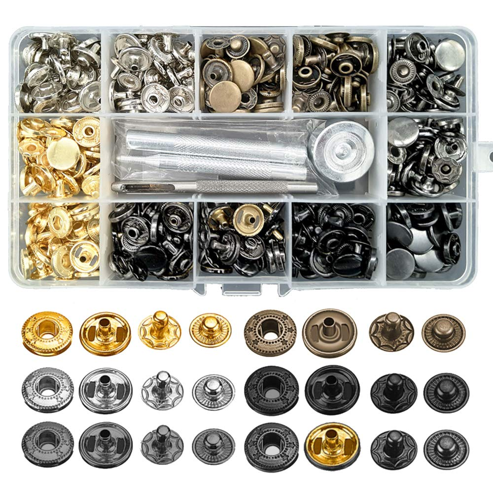 120 Sets Snap Fasteners Kit, Metal Snap Buttons Press Studs with 4 Pieces Fixing Tools, 6 Color Clothing Snaps Kit for Leather, Coat, Down Jacket, Jeans Wear and Bags Alritz 4337005851