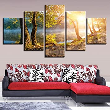 MMLZLZ 5 Consecutive Paintings Modular Canvas Painting Home Decoration Beautiful Blue Tree Picture Modern Printed Landscape Poster Living Room Wall Art Gift