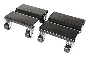 """Vestil SDOL-2 Steel Dolly Set, 500 lbs Capacity, 8"""" Length x 8"""" Width x 3-5/8"""" Height Deck, Pack of 2"""