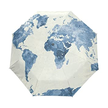 Lavovo watercolor blue world map umbrella double sided canopy auto lavovo watercolor blue world map umbrella double sided canopy auto open close foldable travel rain umbrellas gumiabroncs Images