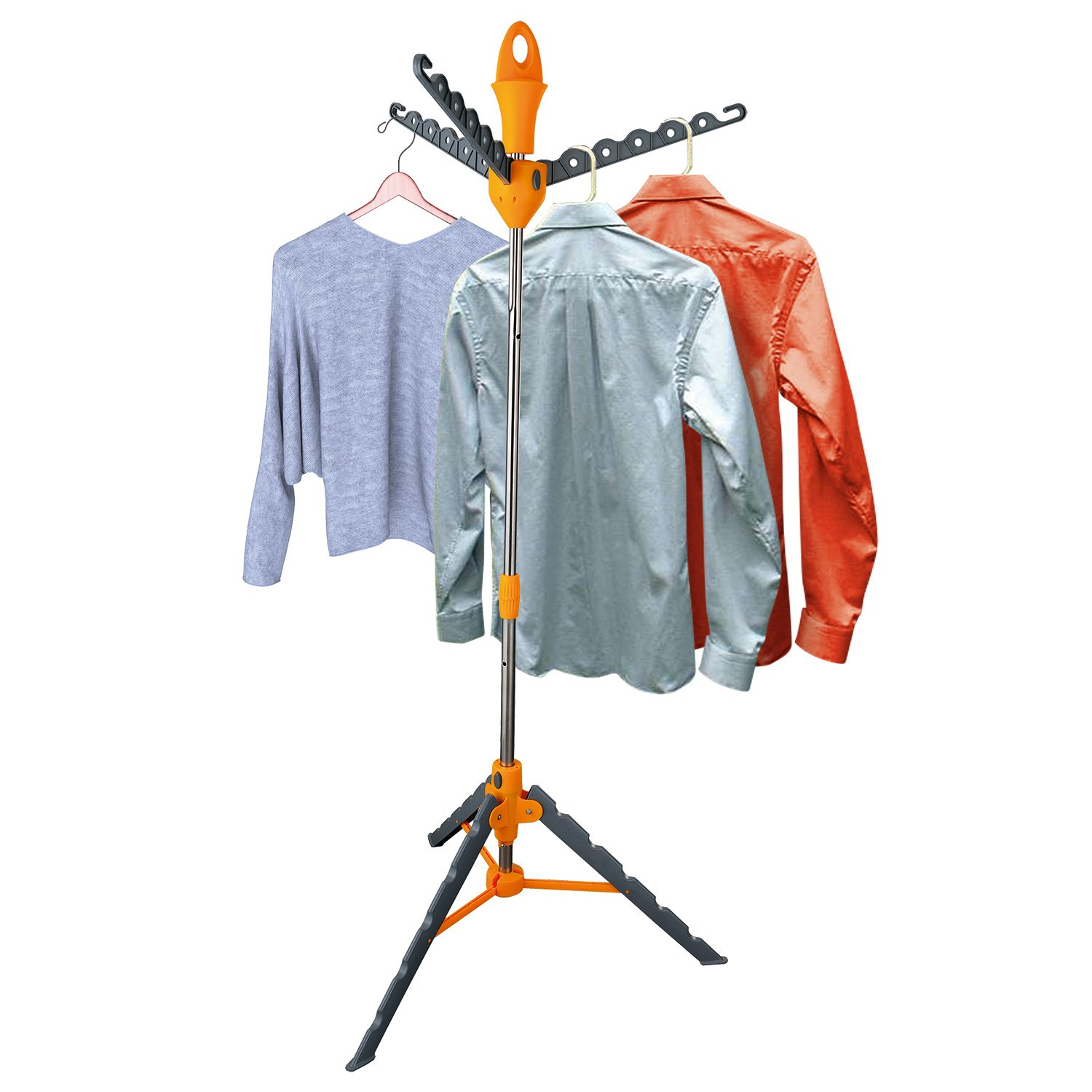 Top Home Solutions Multi Portable Folding Standing Tier Garment Hanger Multifunction Stand Clothes Shirt Dryer Airer Kitchen