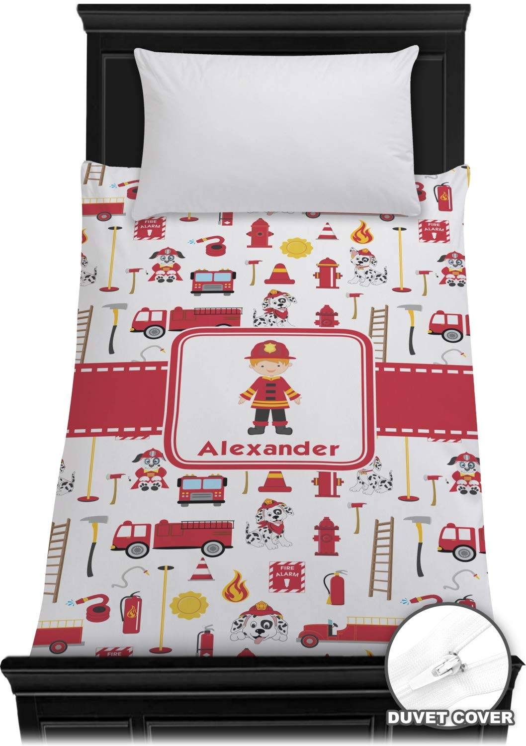 RNK Shops Firefighter for Kids Duvet Cover - Twin (Personalized) by RNK Shops