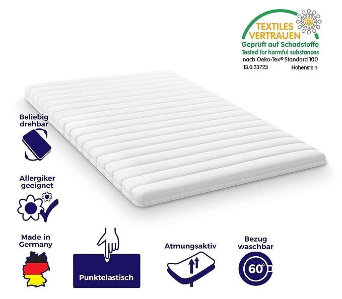 Colchón Viscoelástica para colchón cama de y con somier, certificado Öko-Tex ®, fabricado en Alemania, adecuado para enrollable y colchón de espuma fría (7 ...