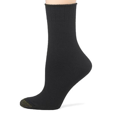 Gold Toe Women's 3-Pack Softwear Crew Sock, Black, 9-11 (Shoe Size 6-9) at Women's Clothing store: Casual Socks