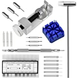 F5MALL Watch Repair Kit,Watchband Tool, Watch Band Strap Link Pin Remover Repair Tool Kit 3 Extra Pins, 3 Pin Punches, 1 Watch Band Holder, 1 Dual Head Hammer, 1 Spring Bar Tool with 6 Tips