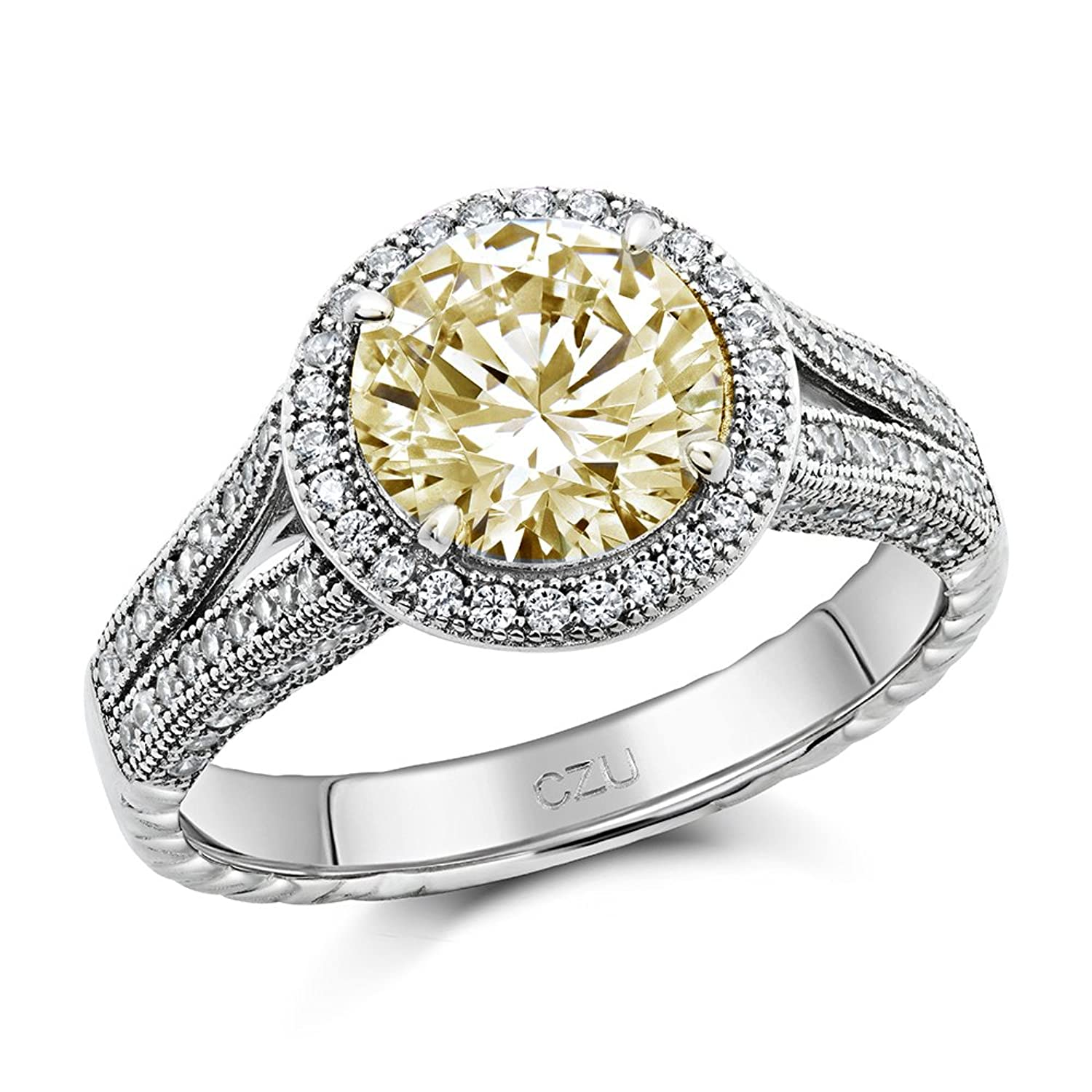 Canary Yellow Round Cut Cubic Zirconia Engagement Ring Sterling Silver