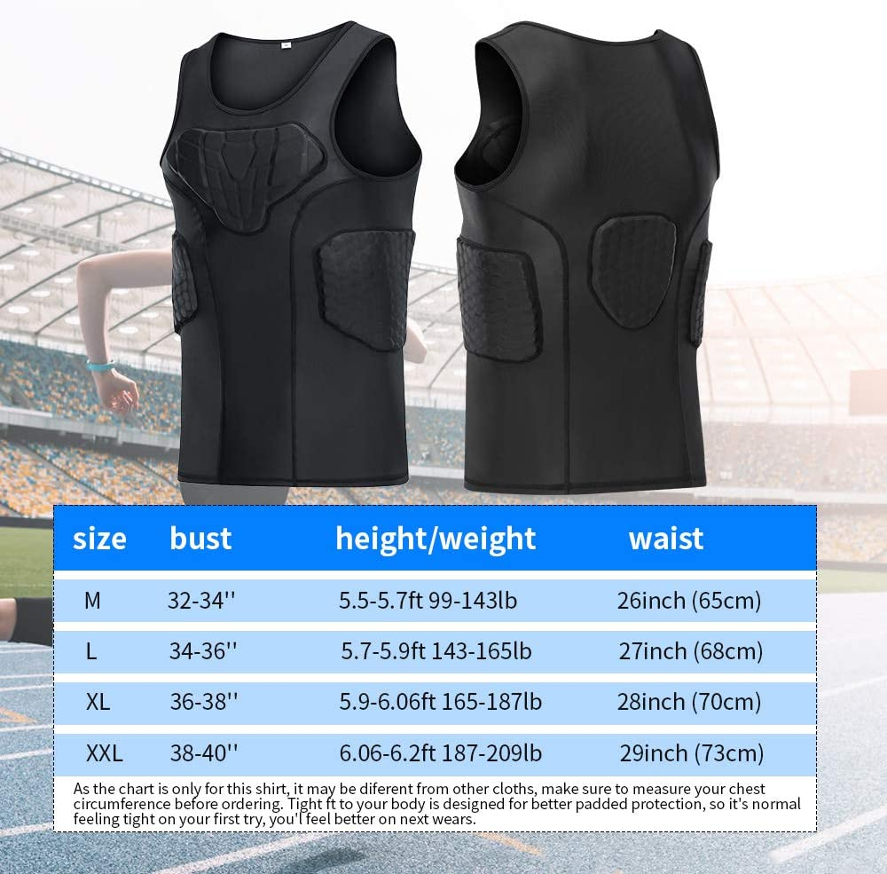 TUOY Men's Padded Compression Tank 4 Pad Protective Underwear for Football Basketball Black : Sports & Outdoors