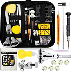 Watch Repair Tool Kit, Watch Band Link Tool Set Watch Case Opener Spring Bar with Carrying Bag, Replace Watch Battery Helper Multi Functional Tools with User Manual for Beginner