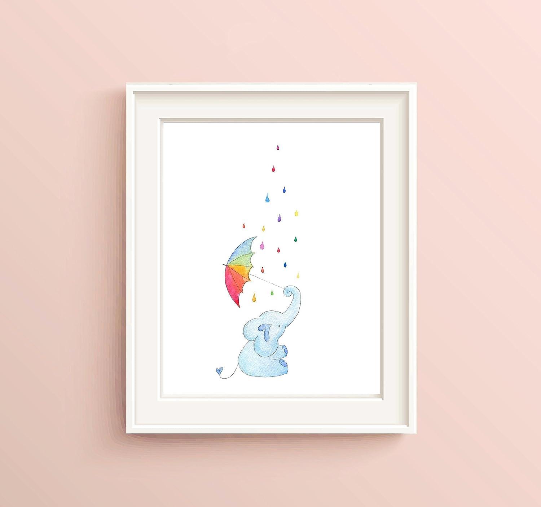 Rainbow Playroom Decor Watercolour Print Gender Neutral Baby Gifts Elephant Nursery Wall Art