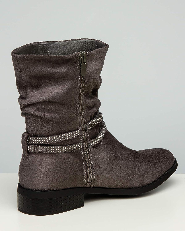 Caspar SBO091 Damen Kurzschaft Stiefel mit Strass