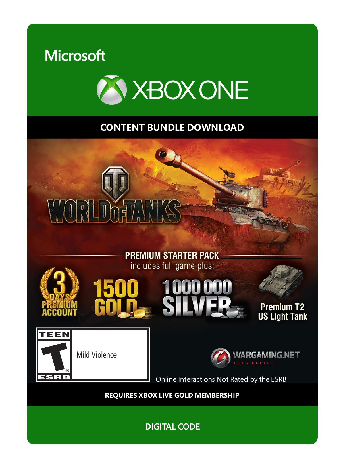 World of Tanks Premium Starter Pack - Xbox One Digital Code