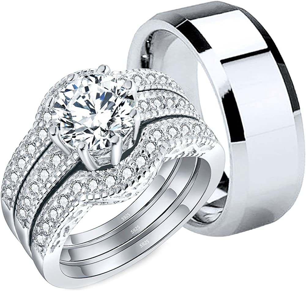 It is just a photo of MABELLA Couples Rings Her Halo CZ Sterling Silver Engagement Wedding Ring Sets His Stainless Steel Bands