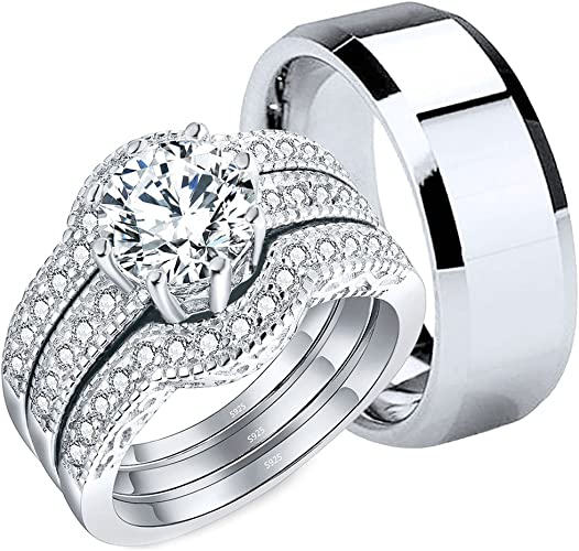 Amazon Com Mabella Couples Rings Her Cubic Zirconia Sterling