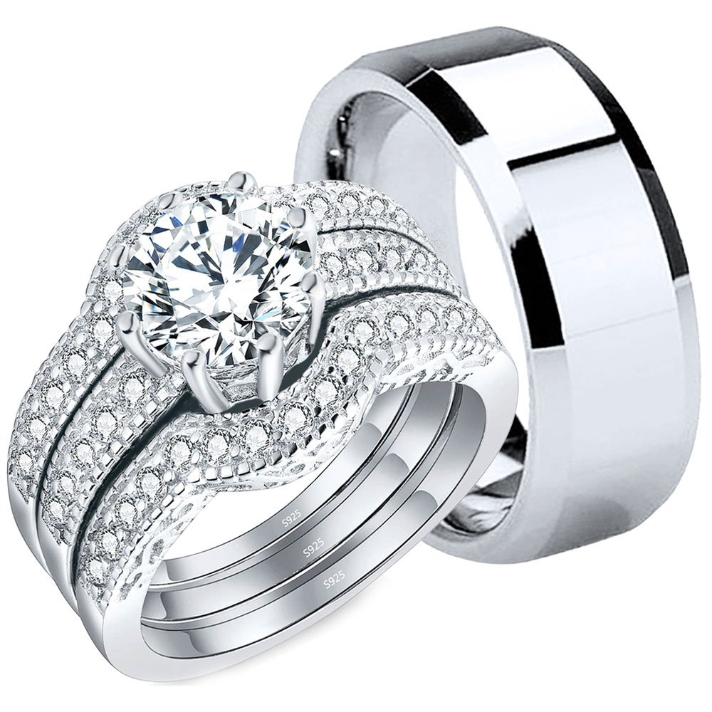 MABELLA Couples Rings Her AAA CZ Sterling Silver Engagement Wedding Ring Sets His Stainless Steel Bands