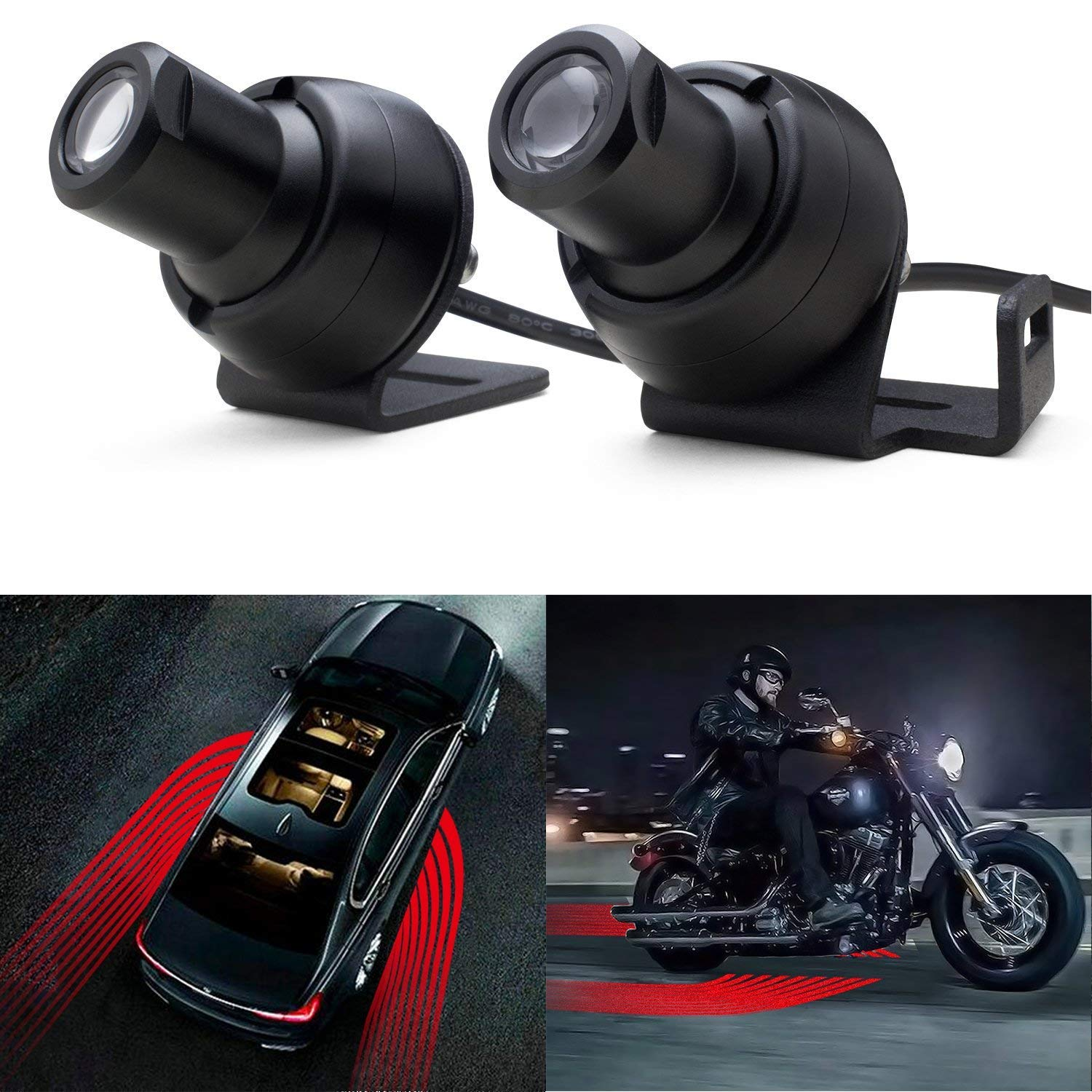 LED Welcome Light Angel Wings Light Car Door Exterior Light Ghost Shadow Lights Compatiable with All Cars & Motorcycles (Red) kedao