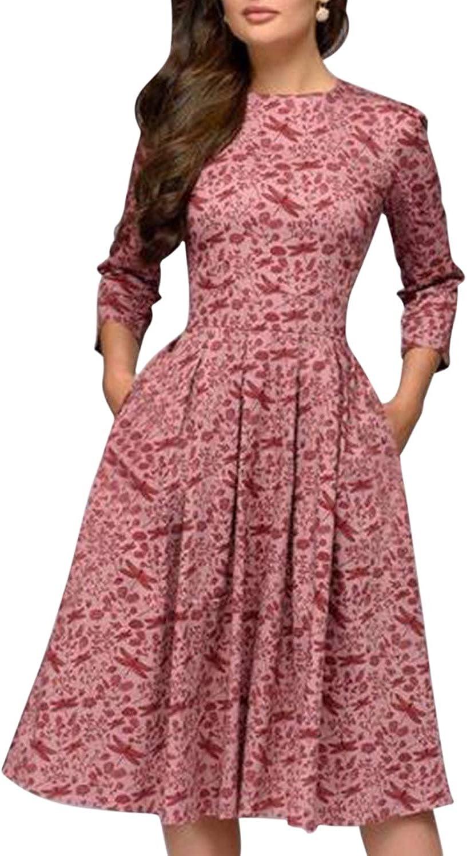 Lisli Robe Femme de Soir/ée Midi Longue Vintage R/étro Manches 3//4 Longue Col Rond Imprim/é /à Fleurs Dress Cocktail