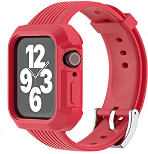 JIEBAO Compatible with Apple Watch Bands Women/Men 38mm 40mm 42mm 44mm, Compatible for Iwatch Band with Case Series 6/5/4/3/2/1/SE Sport Loop, Rugged Protective Case and Band (Red-42mm/44mm)
