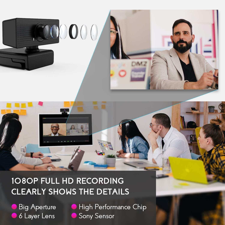 Estudios etc Hangouts Campo de visi/ón de 110 /° para Skype videollamadas FaceTime rotaci/ón de 360 /° COOAU C/ámara Web 1080P FHD C/ámara USB Micr/ófono Incorporado grabaci/ón conferencias