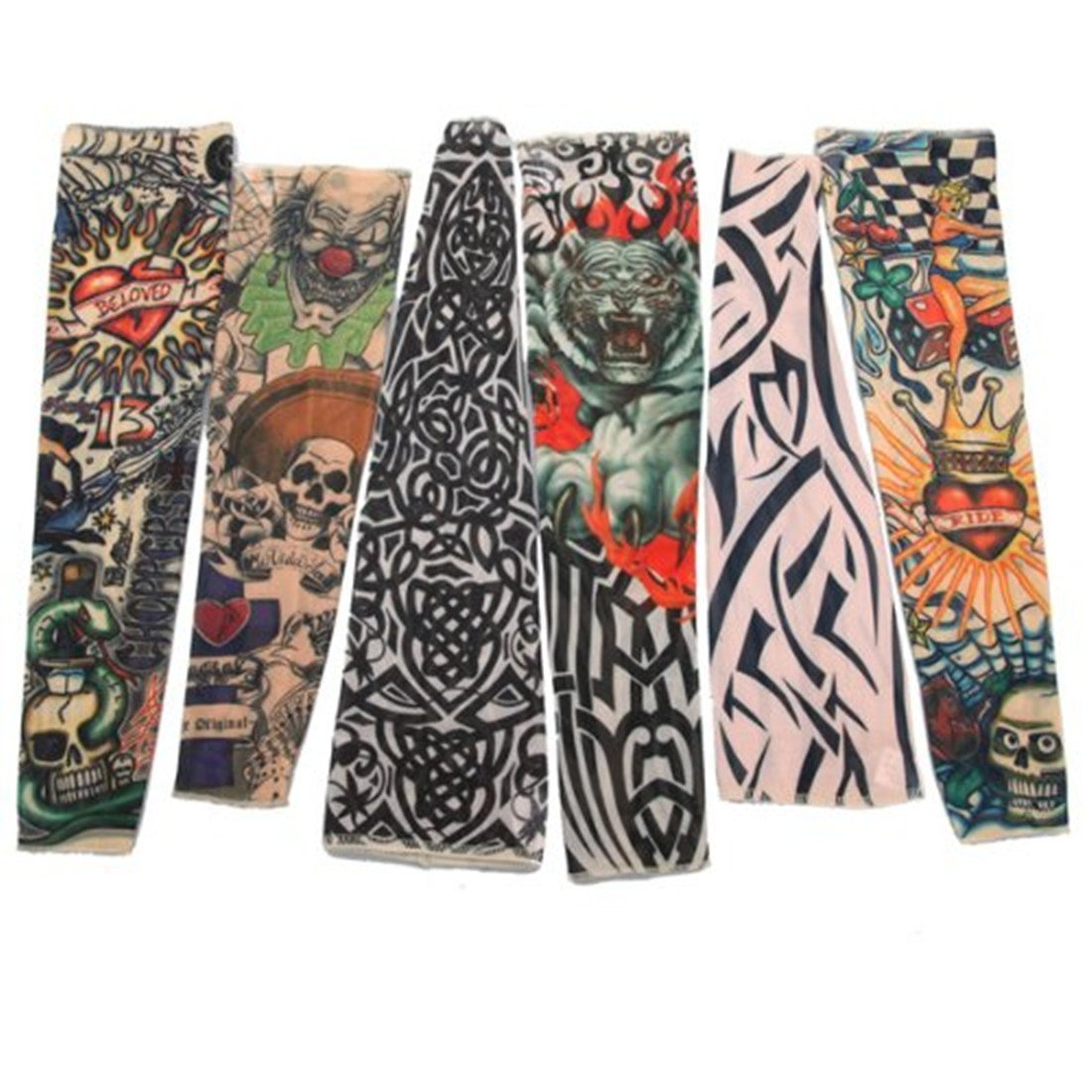 Fletion Set of 6 Pcs Unisex Super Cool Body Art Arm Temporary Fake Slip on Tattoo Sleeves Warm Stocking Accessories