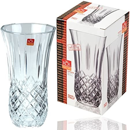 Rcr Opera 25cm Tall Crystal Flower Large Vase Cut Glass Bud Vase