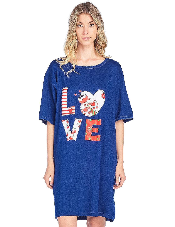 Casual Nights Women's Short Sleeve Printed Scoop Neck Sleep Tee One Size Printed Nighty Shirt