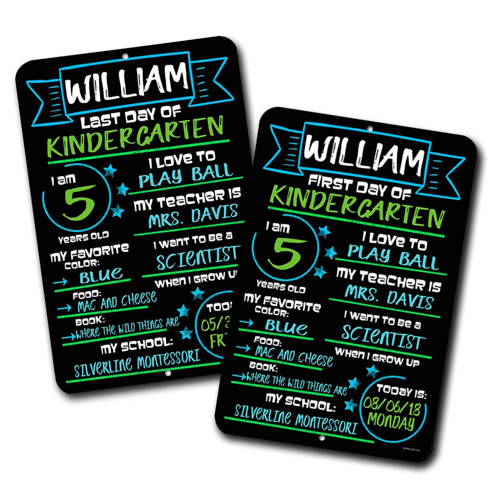 First and Last Day of School (Set of 2) Blue and Green Chalkboard Style Photo Prop Tin Signs 12 x 18 inch - Reusable Easy Clean Back to School, Customizable with Liquid Chalk Markers (Not Included)