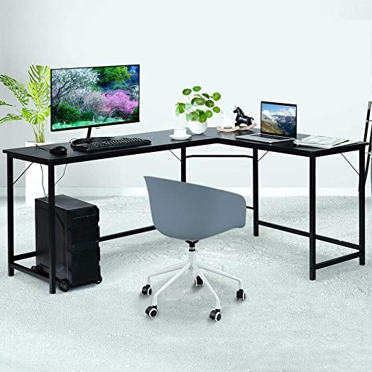 L Shaped Corner Desk L-Shaped Office Desk with Host Shelves Round Corner Computer Desk Gaming Table Workstation for Home Office, Black