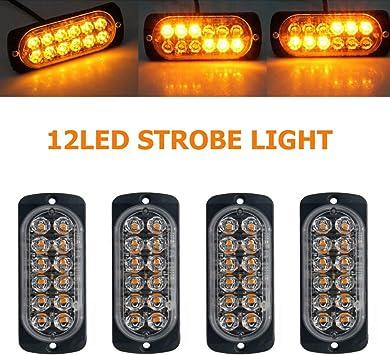 4X 12//24v LED Amber Light Emergency Warning Strobe Flashing Bar Hazard Grill