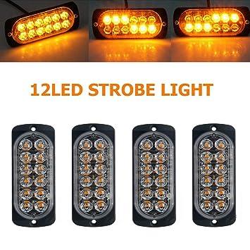 2X 4LED Amber Recovery Strobe Flashing Lights Breakdown Lamps 12V//24V Durable UK