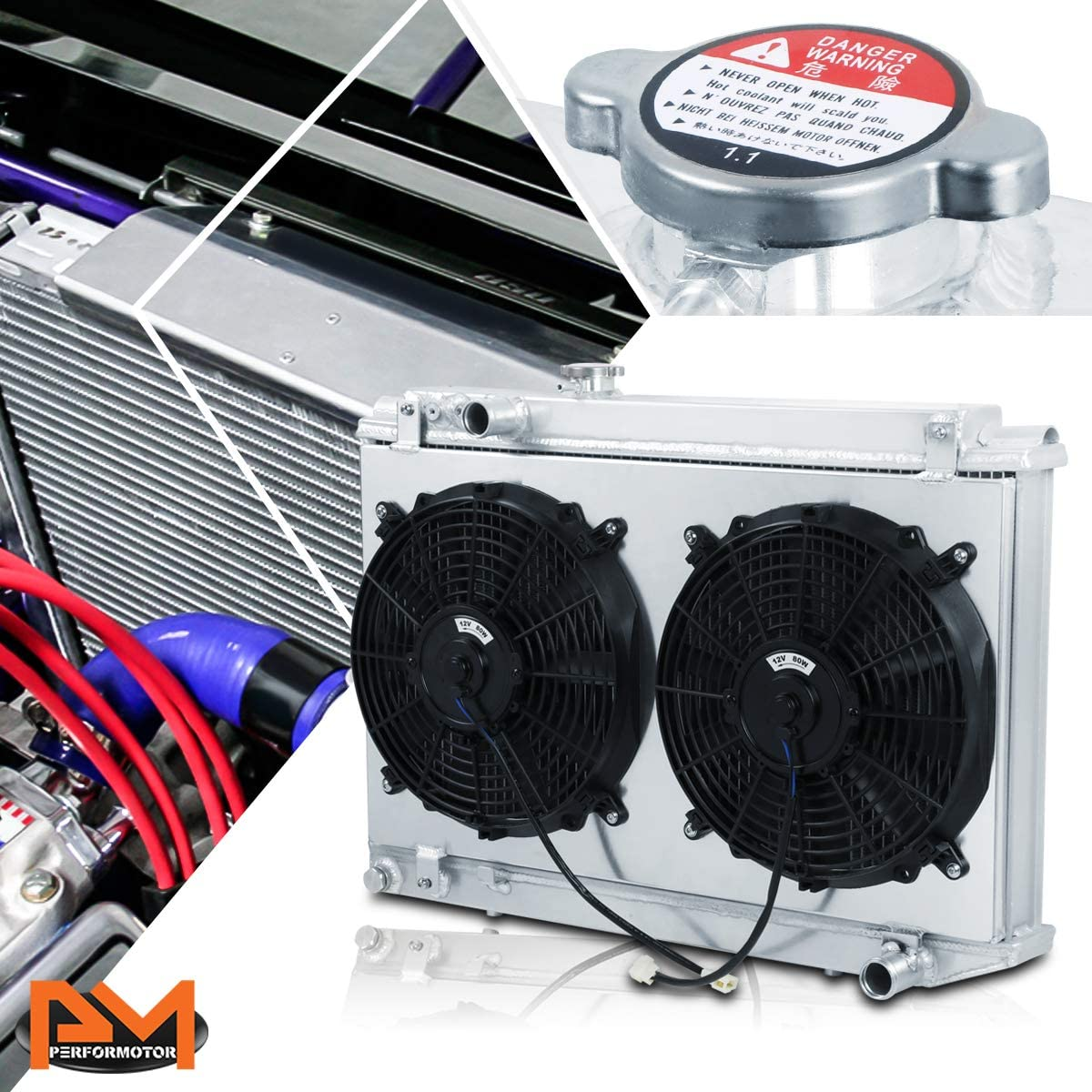 For Supra A70 7M-GTE 86-92 Aluminum Tri-Core 3-Row Cooling Radiator with Fan Shroud