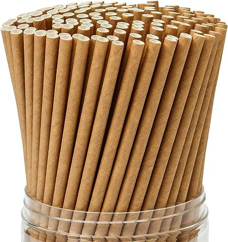 Imagen deKeriber 350 Piezas Pajitas de papel Kraft marrón Pajita biodegradable con pajas de beber a granel de calidad superior Decoraciones para artículos de boda y regalos para fiestas