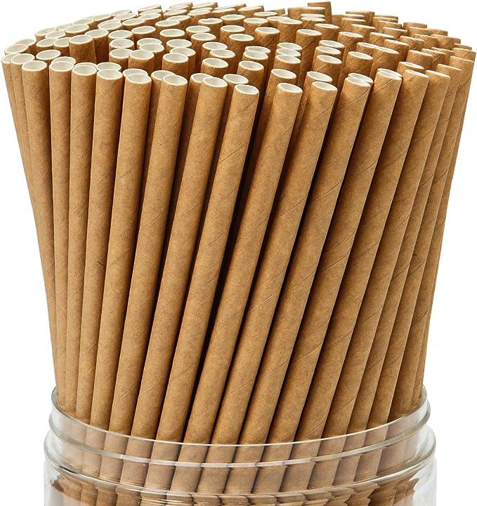 Keriber 350 Piezas Pajitas de papel Kraft marrón Pajita ...