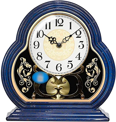 Mantle Desk Clock Living Room Creative Desk Decoration Mute Clock Digital Clocks, Blue, 26 25cm