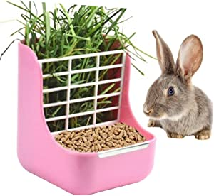 sxbest 2 in 1 Food Hay Feeder for Guinea Pig,Rabbit,Indoor Hay Feeder for Guinea Pig,Rabbit, Chinchilla,Feeder Bowls Use for Grass & Food Pink