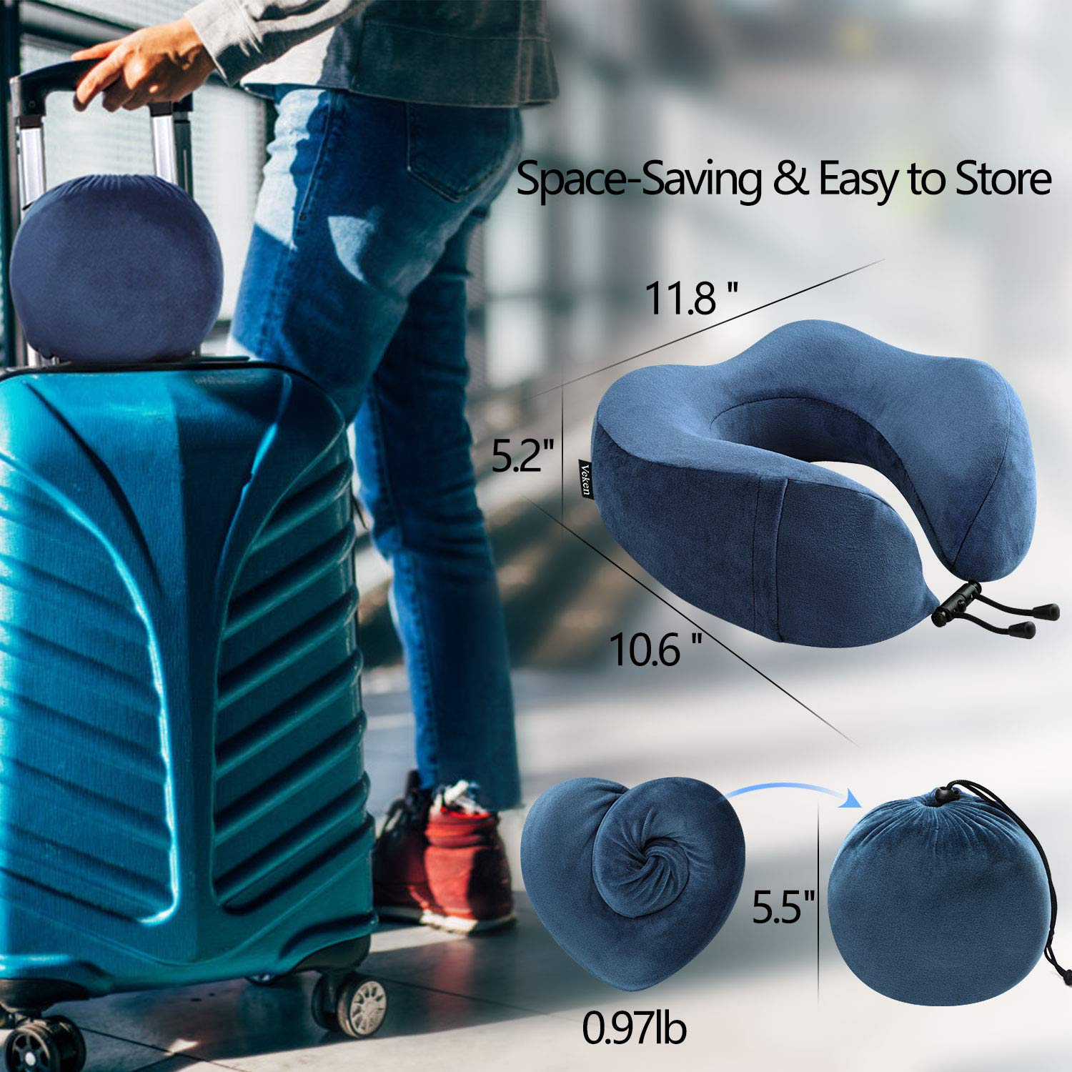 Veken Travel Pillow for Airplane Train Car Memory Foam Foldable U Shaped Neck Chin Support Included Sleeping Mask and Earplugs Blue