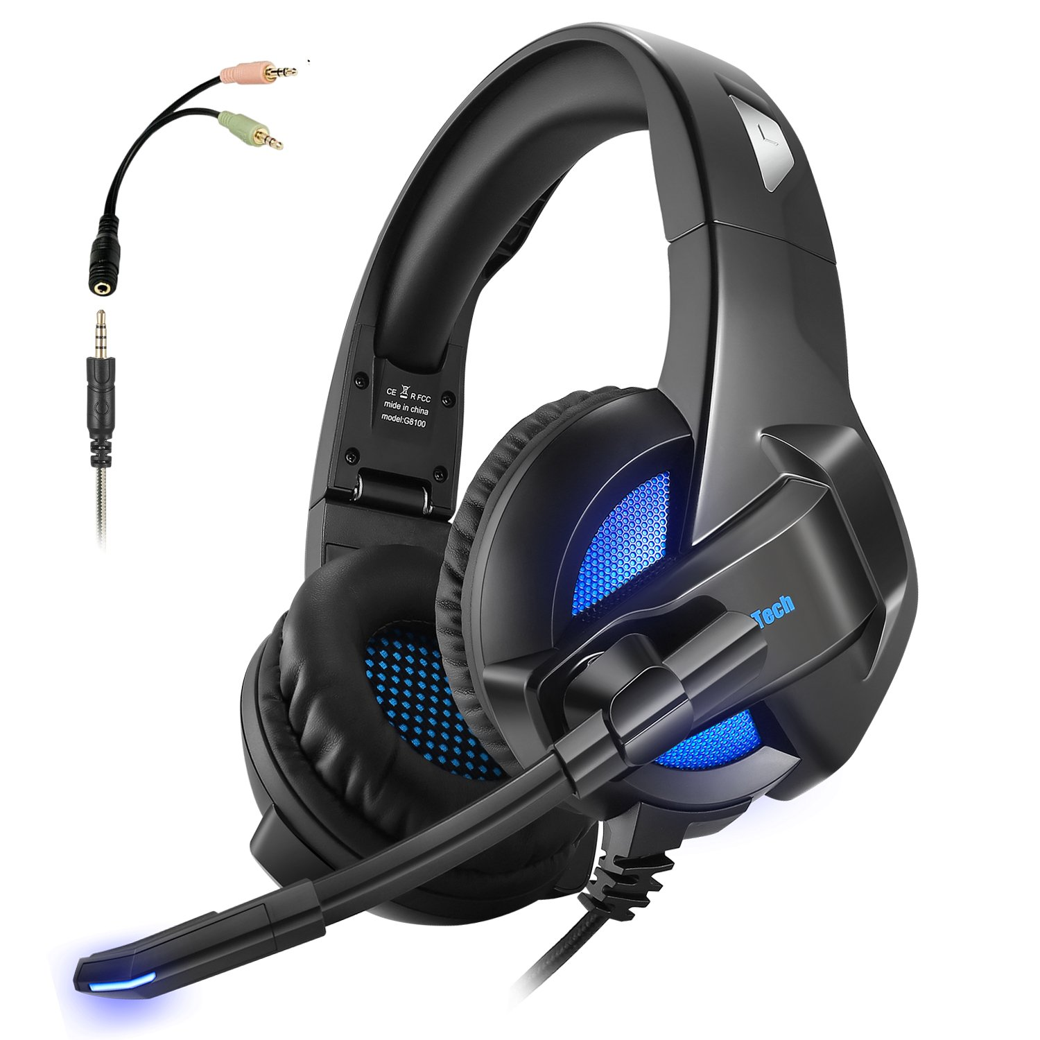 Gaming Headset Foldable for Xbox One PS4 ARKARTECH Headphones with Mic  Noise Cancelling Over Ear LED Light Bass Stereo Sound Volume Control for PC af3973fde3