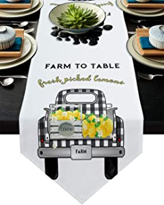 Z&L Home LinenBurlapTableRunnerDresserScarves, Farm Buffalo Check Truck with Fruit Lemons TableRunnersforFamily Dinner/HolidayParty/Wedding/Events/KitchenDecor Country Style 13x70In