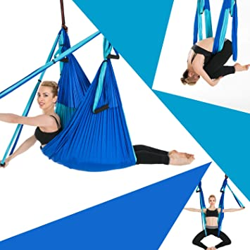 Sinbide Hamaca de Yoga, 250 * 150cm, Columpio Trapecio Set, 6 manivelas Columpio para Yoga para Yoga Aéreo, Carga de 600 kg, Seguro, Verde, Azul, Azul ...