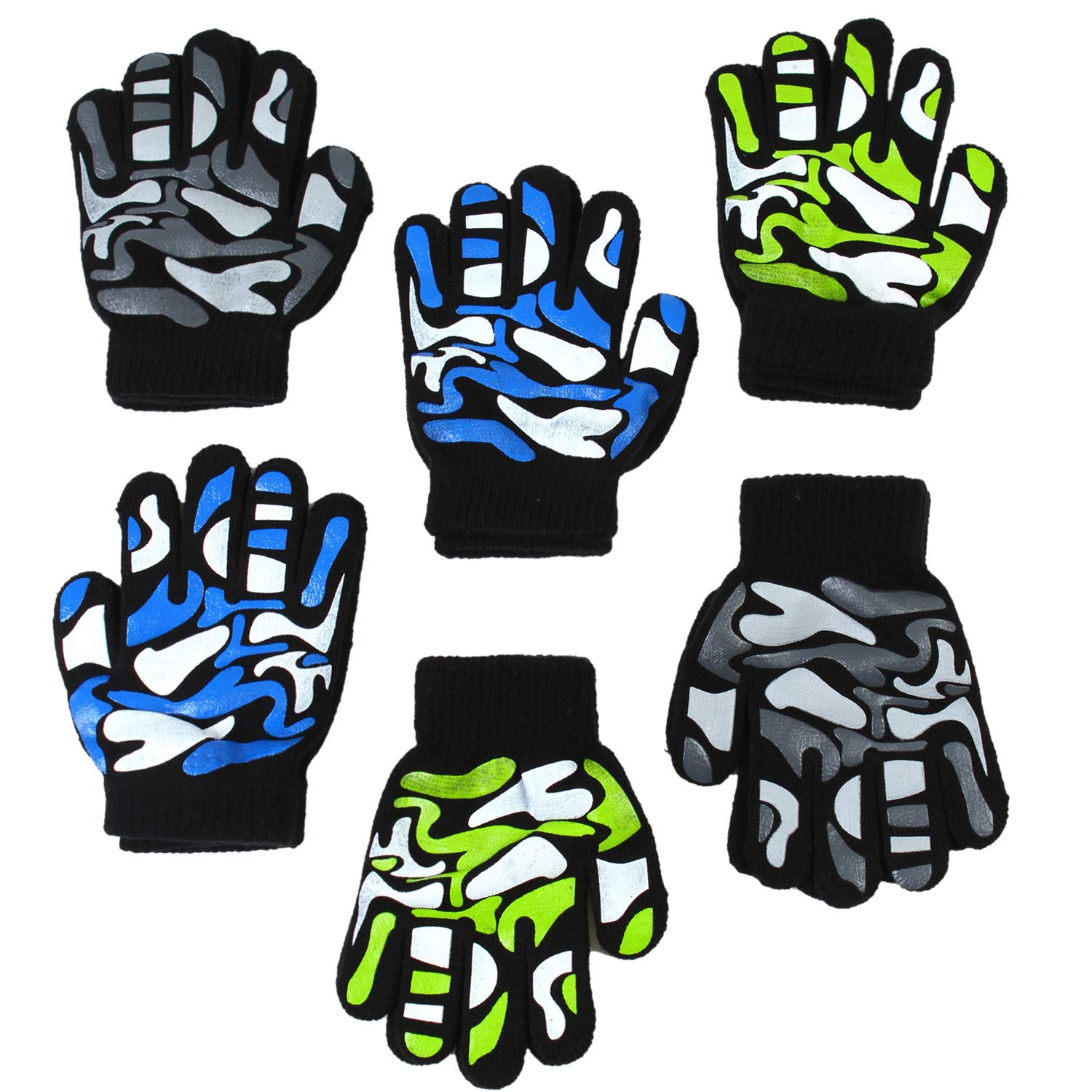 Cooraby 12 Pairs Kids Warm Magic Gloves Teens Winter Stretchy Knit Gloves Boys Girls Knit Gloves