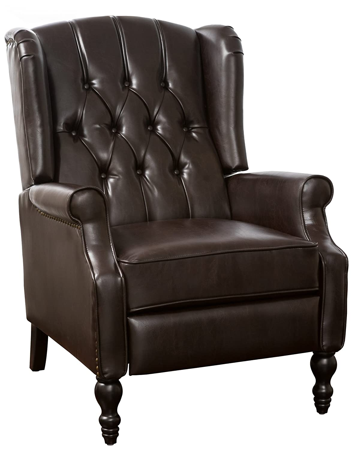 GDF Studio 296111 Elizabeth Tufted Brown Bonded Leather Recliner Arm Chair