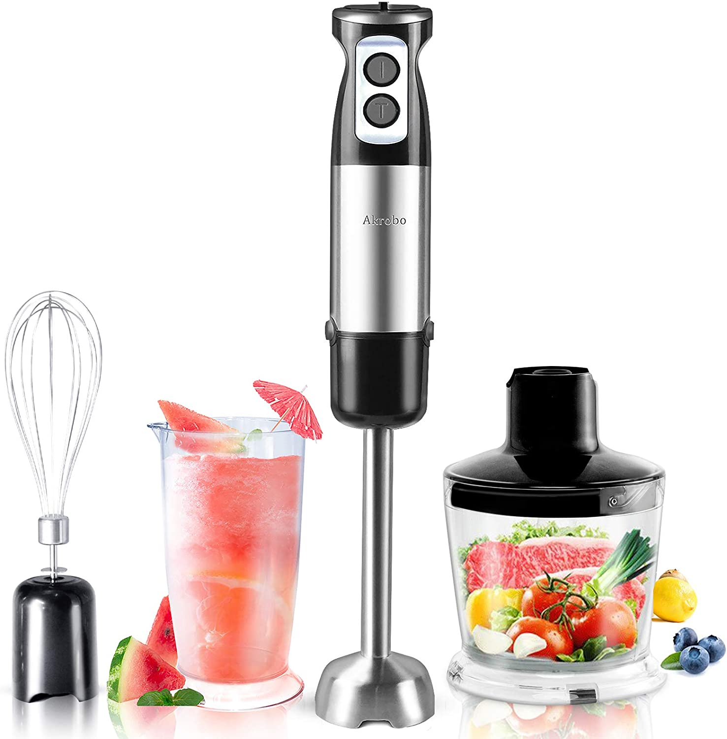 Akrobo 600W 6 Speed Immersion Hand Blender Handheld Electric 4-IN-1,304 Stainless Stick Blender with Whisk,Chopper,Measuring Cup,Used to Make Puree Infant Food, Smoothies, Sauces and Soups-Thanksgiving Christmas Day Dinner Party Cooking Assistant