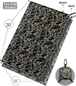 snailman Microfiber Travel Towel, Compact Quick-Dry Camping Towel, Lightweight Outdoor Towel for Gym Sports Swim (Camouflage, M (18x30 inches))