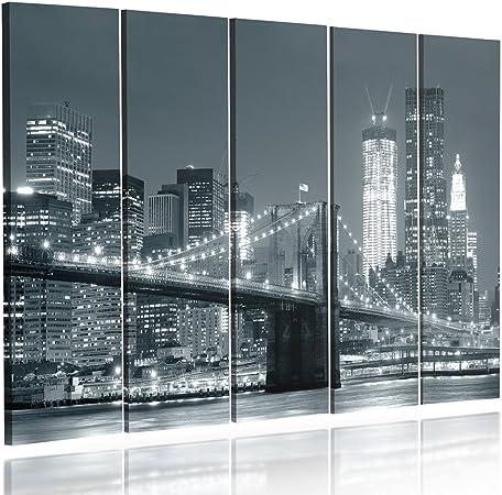 Quadro multipannello di 5 pannelli PONTE NOTTE 100x150 cm NEW YORK CITT/À BROOKLYN BRIDGE NERO E BIANCO Canvas Tipo A Quadro su tela Stampa artistica Feeby Frames