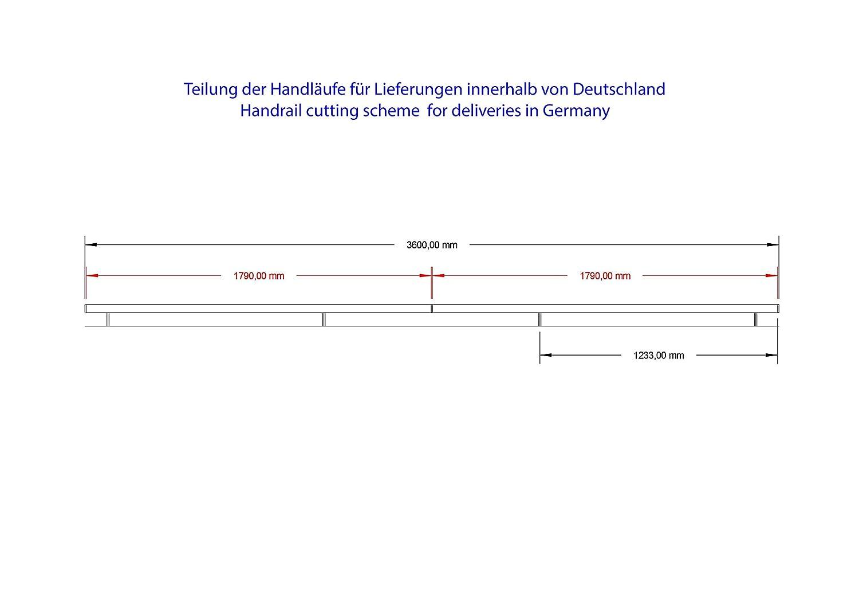 Pasamanos de acero inoxidable V2/A 42,4/mm 240/K pulido pared pasamanos geteilt con recto endkappe