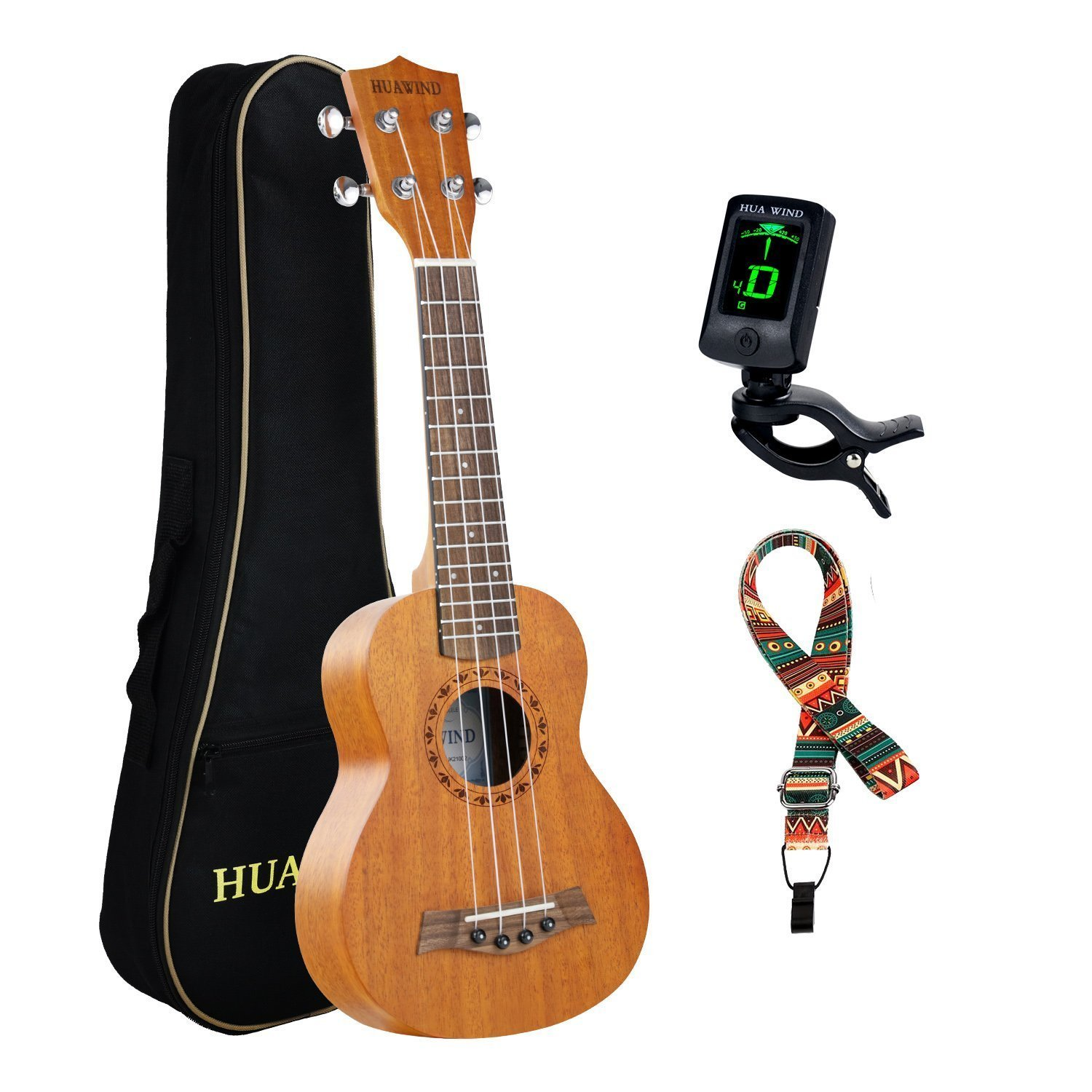 HUAWIND Soprano Mahogany Ukulele For Beginners Four String Guitar Kit with Design of unique engraving Pattern W/Gig Bag Tuner And Strap Ltd. HW21/23-002