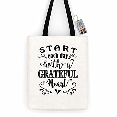 Start Each Day with a Grateful Heart ShirtCotton Canvas Tote Bag Day Trip Bag Carry All