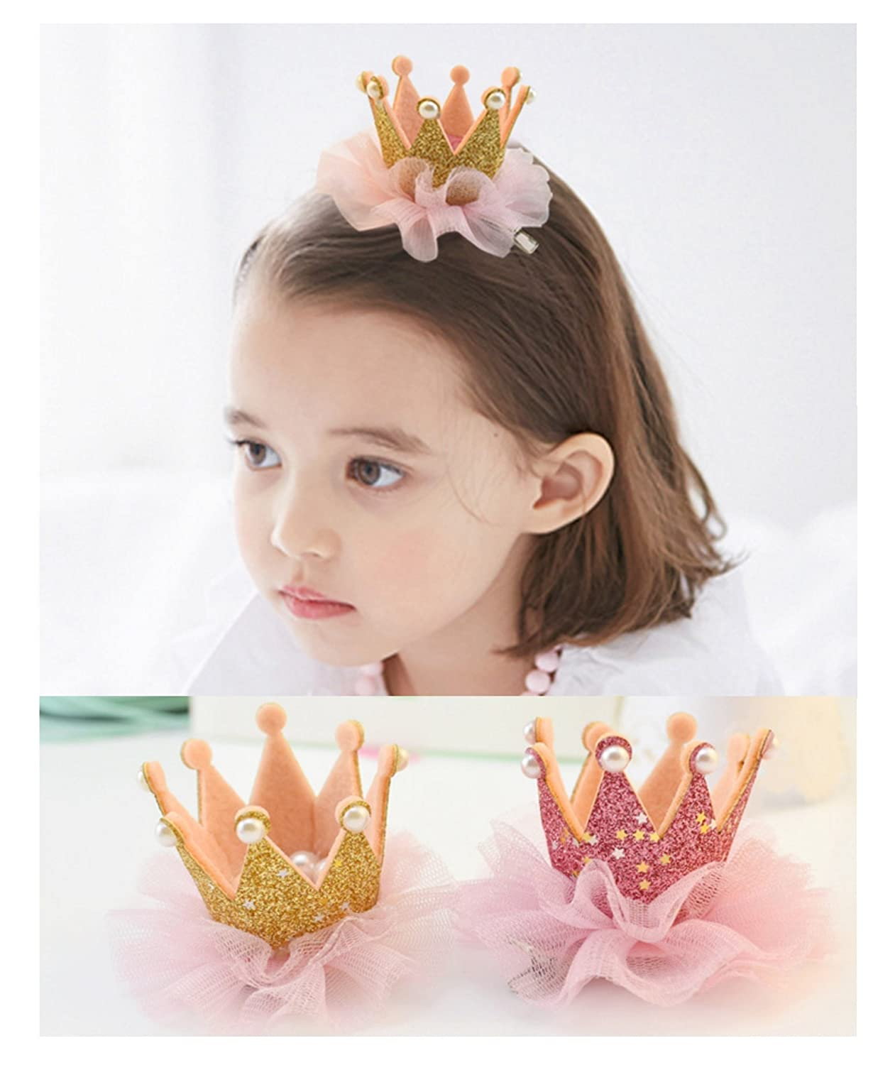Hot Sale Ecome 3pcs Girl Hairpin Baby Elastic Flower Crown Headwear